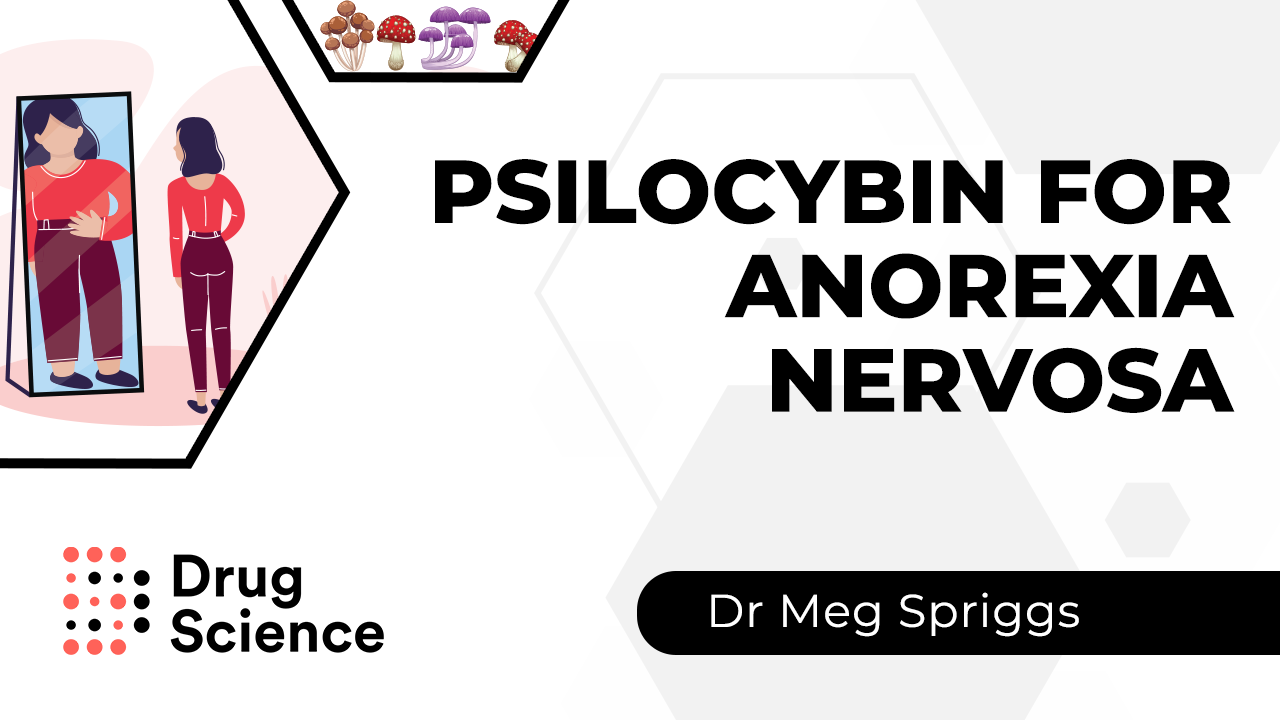 Thumbnail for psilocybin for anorexia nervosa research video by meg spriggs demonstrating how the active substance in magic mushrooms may help people with eating disorders and body dysmorphia