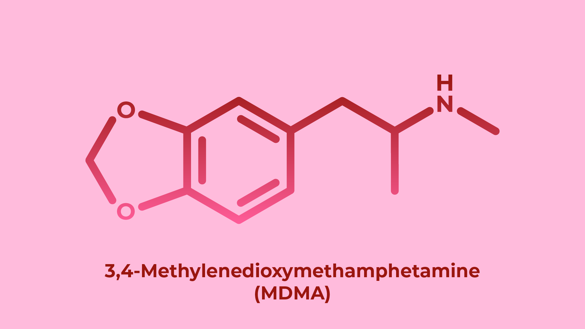 chemical structure of mdma molecule, the active compound in the stimulant drug ecstasy