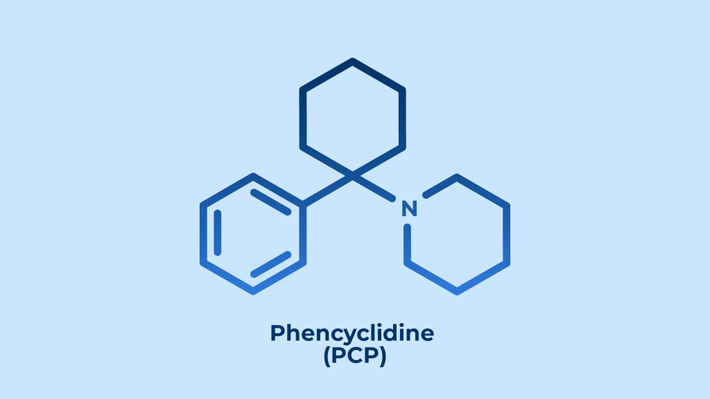 chemical structure of phencyclidine (PCP) molecule