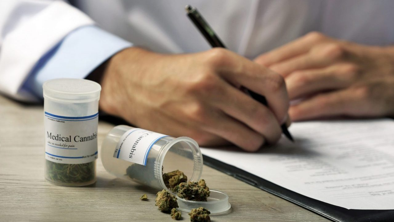 Doctor,Writing,On,Prescription,Blank,And,Bottle,With,Medical,Cannabis
